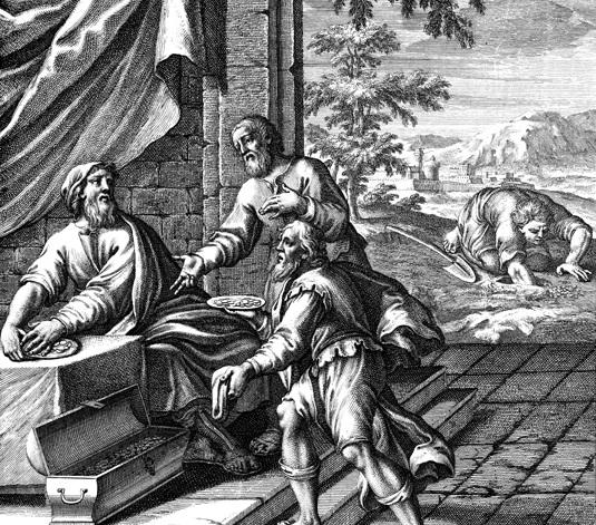 Притча о талантах. Гравюра 17 века