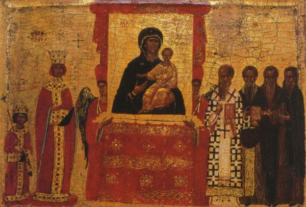 Икона Торжество Православия. (фрагмент — Императрица Феодора и император Михаил III). Византия, первая половина XV века